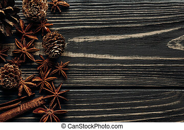Anise And Pine Cones On Wooden Background Stylish Rustic Winter Flat Lay Space For