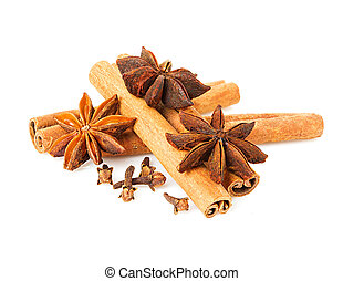 Anise, cinnamon and cloves isolated