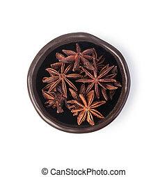 anise spices on white background