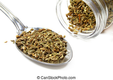 anise seeds - jar and spoon full of anise seeds isolated on...