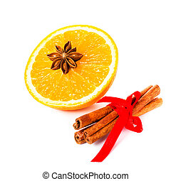 Anise star, Cinnamon stick and fresh orange, Christmas spices fo