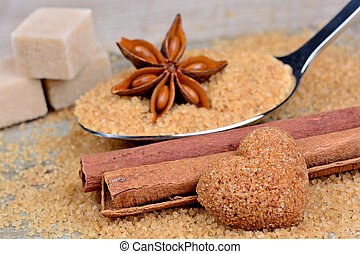 Anise star with cinnamon and beige sugar