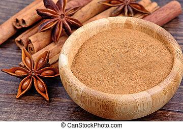 Anise star with cinnamon on table