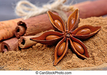 Anise star with cinnamon on wooden table