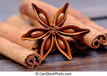 Anise star with heap of cinnamon sticks