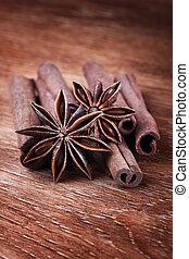 anise stars with cinnamon sticks