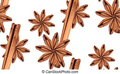 Anise with cinnamon - Star anise with stick of cinnamon,...