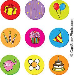 aniversário, ícones