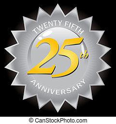 aniversário, 25th, emblema, prata, selo
