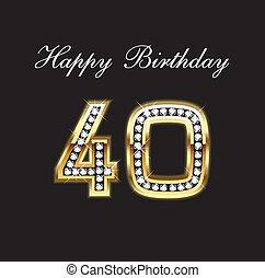 aniversário, 40, feliz