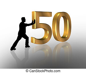 aniversário, 50th, convite, 3d