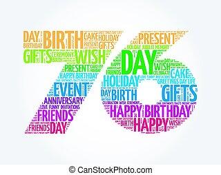 aniversário, 76th, palavra, nuvem, feliz