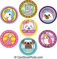 aniversário, adesivos, feliz