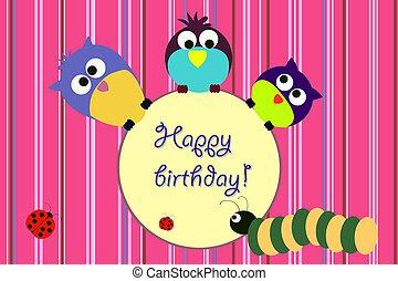 aniversário, animal, cartão