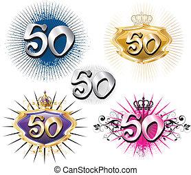 aniversário, aniversário, 50th, ou