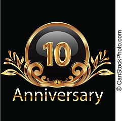 aniversário, anos, aniversário, 10