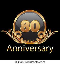 aniversário, anos, aniversário, 80