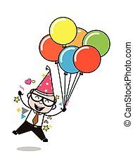 aniversário, antigas, pai, -, ilustração, saliência, vetorial, retro, partido, desfrutando, caricatura