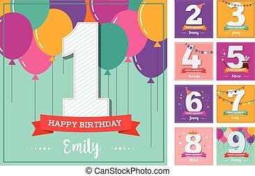 aniversário, balões, cartão cumprimento, feliz