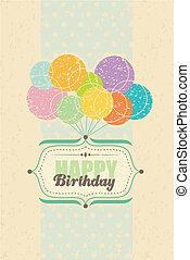 aniversário, balões, cartão, feliz