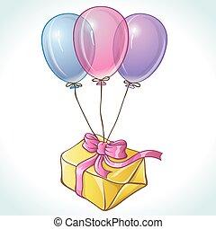 aniversário, balões, cartão, presente, feliz