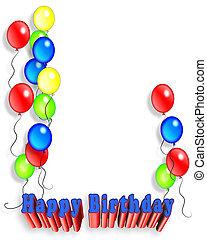 aniversário, balões, convite, 3d