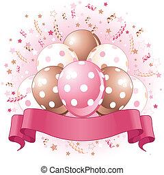aniversário, balões, cor-de-rosa, desenho