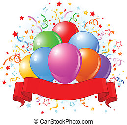 aniversário, balões, desenho