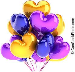 aniversário, balões, em, forma, de, corações