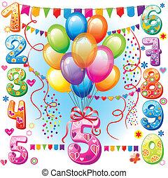 aniversário, balões, números, feliz