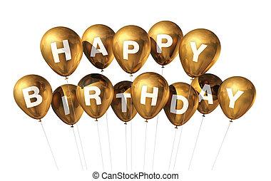 aniversário, balões, ouro, feliz