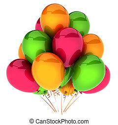 aniversário, balões, partido, decoração feriado, vermelho, laranja, verde