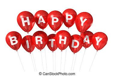 aniversário, balões, vermelho, feliz