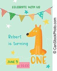 Raposa Aniversário Vetorial Convite Bebê Cartão