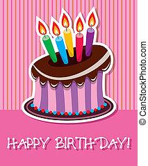 aniversário, bolo chocolate, com, queimadura, velas