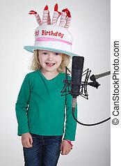 aniversário, cantando, criança