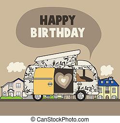 aniversário, car, cartão