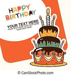 aniversário, card., feliz