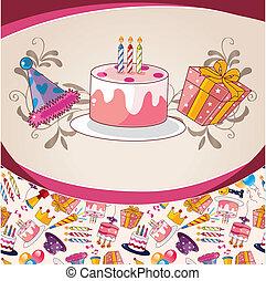aniversário, caricatura, cartão