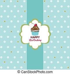 aniversário, cartão cumprimento, feliz