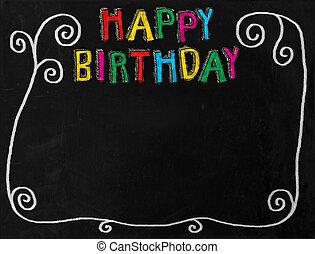 aniversário, chalkboard, borda