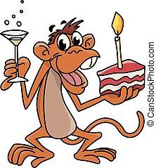 aniversário, cheio, macaco, vidro, outro, ilustração, um, celebrando, vetorial, passe segurar, bolo, champanhe, caricatura