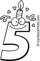 aniversário, cinco, caricatura, número