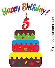 aniversário, cinco, cartão, anos