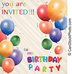 aniversário, convite, fundo
