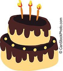 aniversário, cor, velas, two-layer, ilustração, gotejado, glowing, vetorial, bolo, desenho, chocolate, ou, celebração
