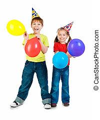 aniversário, crianças, bonés