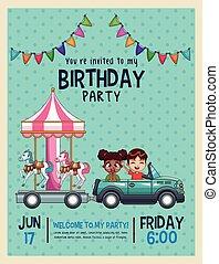 aniversário, crianças, cartão, convite