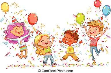aniversário, crianças, partido, pular, dançar
