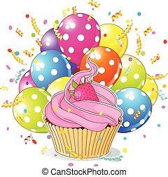 aniversário, cupcake, com, balões